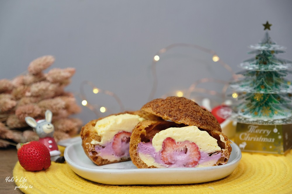 草莓甜點【品好乳酪】熱戀草莓乳酪泡芙~整顆草莓夾在大泡芙裡!(門市資訊) - yukiblog.tw