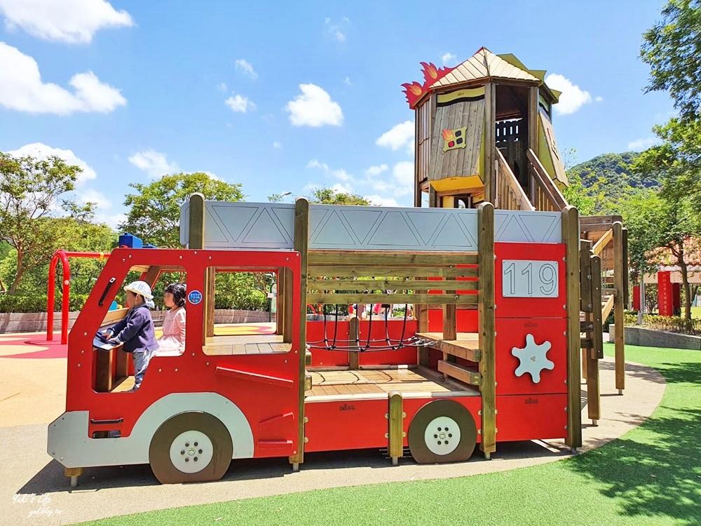 台北內湖親子景點》湖山6號公園~大湖公園旁消防車特色遊戲場!搭捷運野餐出遊去~ - yukiblog.tw
