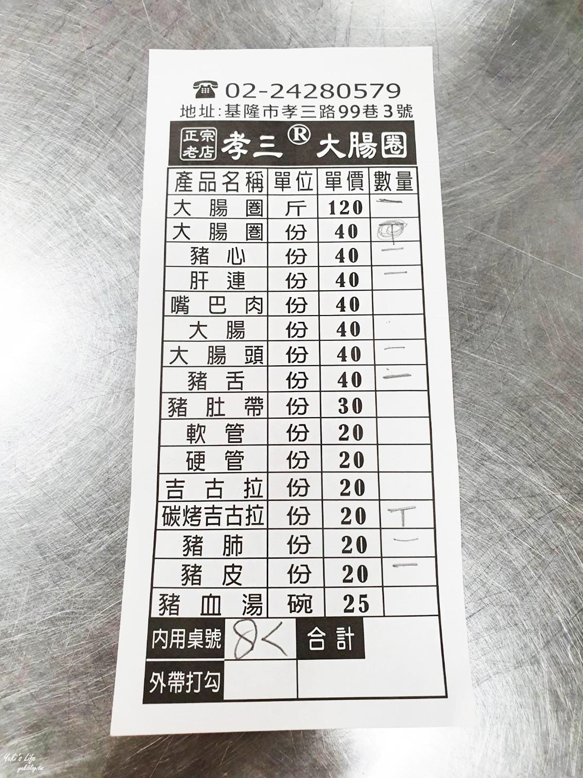 基隆必吃美食》孝三大腸圈~30年老店銅板小吃人氣爆棚!每份只要40元! - yukiblog.tw