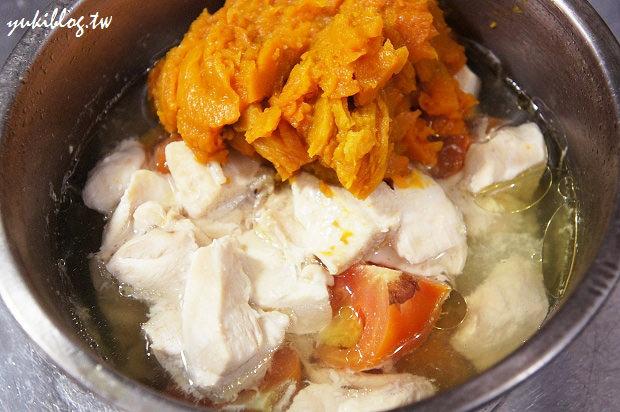 [試用]*愛的副食品13M+ ~ 好吃營養的 南瓜番茄洋蔥雞肉泥 & 吻仔魚菇菇泥 & 甜椒雙筍雞肉泥 (出動飛利浦HR1364手持攪拌器) - yukiblog.tw
