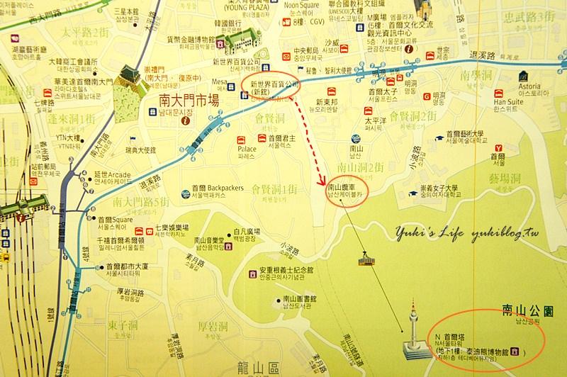 南大門往首爾塔地圖