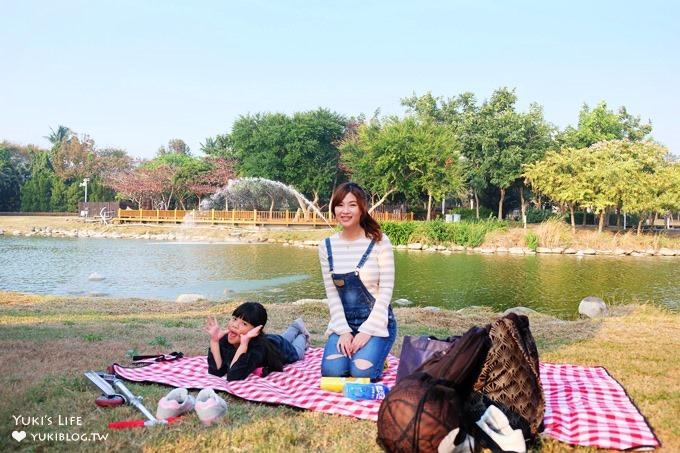 彰化免費親子景點【溪州公園】幸福花園野餐好去處×餵魚餵鴨還能騎腳踏車!