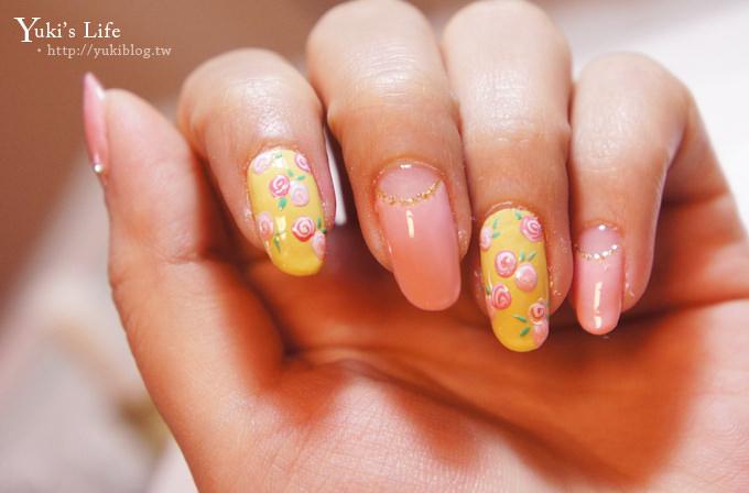 [光療美甲]板橋‧花季美甲Queeny Nail ~ 春天的玫瑰小花+黃色粉雕蝴蝶結 ❤ - yukiblog.tw