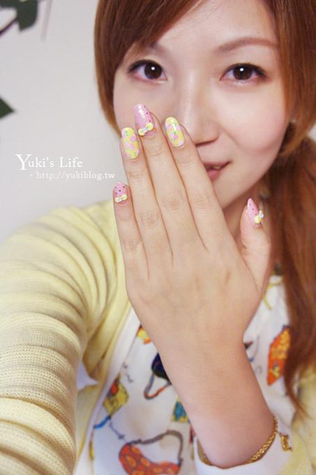 [光療美甲]板橋‧花季美甲Queeny Nail ~ 春天的玫瑰小花+黃色粉雕蝴蝶結 ❤