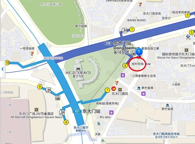 首尔自由行【桥村炸鸡KyoChon】东大门24小时营业、2015年7月搬迁新地址(东大门站6号出口、地图) - yukiblog.tw