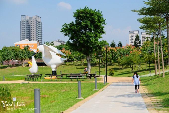 桃園捷運景點》藝術景觀大草皮野餐好去處!送子鳥超可愛!(體育園區站) - yukiblog.tw
