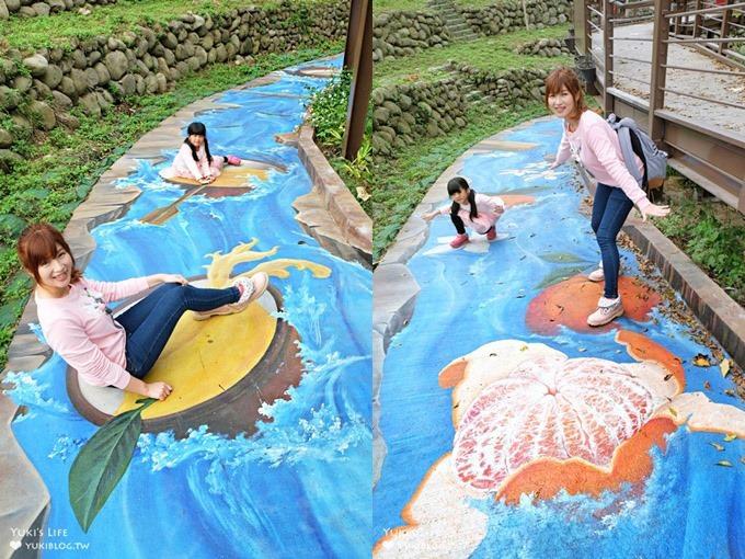 新竹最新3D彩繪步道拍照景點【峨眉湖步道】跟著巨型橘子來趟急流水道之旅(峨眉湖停車場)