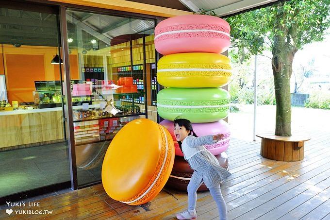 宜蘭員山親子IG拍照景點【菓風糖果工房】超大彩色馬卡龍現身×Monica玻璃屋鬆餅咖啡廳