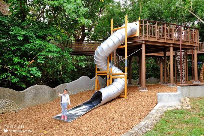 台北免費親子景點【天母東和公園】木屑鋪面兩層樓旋轉溜滑梯×湯姆歷險記森林遊樂場~假日森呼吸!