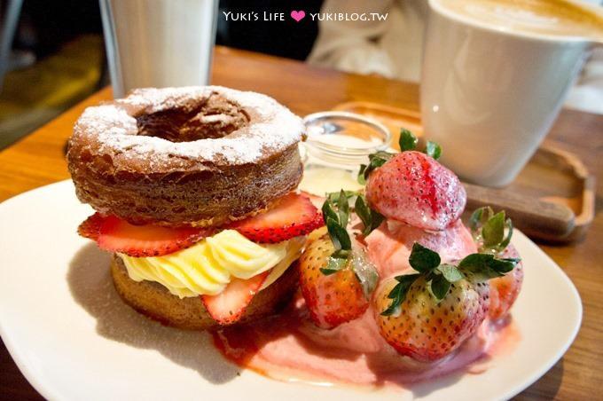 東區下午茶【好滴咖啡Drip Cafe(忠孝店)】充滿綠意的用餐環境、人氣草莓可頌甜甜圈 @忠孝敦化站