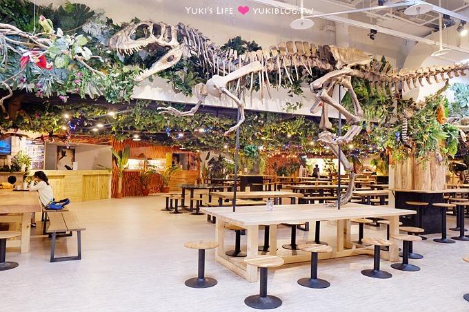 台北士林【LAB時驗工廠石尚咖啡/恐龍食場】工業風燒杯咖啡、恐龍老虎陪吃飯的森林餐廳@科教館